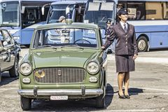 Cute Vintage Police Woman royalty free stock photography