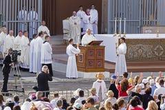 Pope Francesco Bergoglio celebrates the Corpus Domini mass in Sant Monica square in Rome. Ostia Lido - Rome, Italy June 3, 2018: Pope Francesco Bergoglio stock photography
