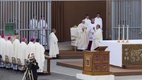 Pope Francesco Bergoglio celebrates the Corpus Domini mass in Sant Monica square in Rome. Ostia Lido - Rome, Italy June 3, 2018: Pope Francesco Bergoglio stock images