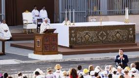 Pope Francesco Bergoglio celebrates the Corpus Domini mass in Sant Monica square in Rome. Ostia Lido - Rome, Italy June 3, 2018: Pope Francesco Bergoglio stock image