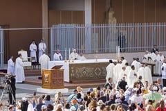 Pope Francesco Bergoglio celebrates the Corpus Domini mass in Sant Monica square in Rome. Ostia Lido - Rome, Italy June 3, 2018: Pope Francesco Bergoglio stock photos