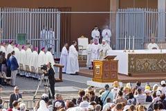 Pope Francesco Bergoglio celebrates the Corpus Domini mass in Sant Monica square in Rome. Ostia Lido - Rome, Italy June 3, 2018: Pope Francesco Bergoglio royalty free stock photos