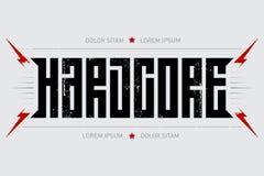 Ostinato - manifesto di musica Nucleo duro - progettazione della maglietta con lig rosso illustrazione vettoriale