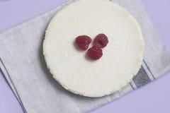 Ostkaka för vanlig vanilj med hallon Fotografering för Bildbyråer