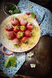 Ostkaka med jordgubbar i en bunke Royaltyfria Foton