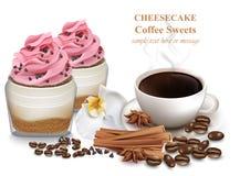 Ostkaka och nytt kaffe Realistiska söta efterrätter för vektor Arkivfoton