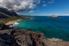 Ostkust av Oahu Arkivbilder