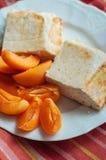 Ostliknande äggeldfast form med aprikors och kanel Royaltyfri Fotografi