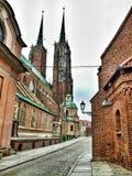 Ostrà ³ w Tumski och domkyrkan av St John det baptistiskt i WrocÅ 'aw i Polen arkivbild