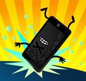 Ostra kreskówka Opuszczający Smartphone ekran Pękający Zdjęcie Stock