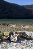 Ostras escolhidas frescas na costa de mar com vidros de prata imagem de stock