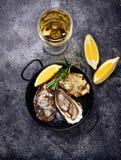 Ostras frescas con el limón y el vino blanco imagenes de archivo
