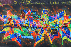 OSTRAVA, CZECH REPUBLIC - APRIL 10:The Milada Horakova Park since the 1990s filled by abstract color graffiti on April 10, 2014 Royalty Free Stock Photo