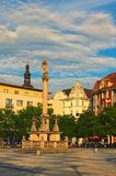 Ancient column with figure of Virgin Mary at Masaryk Square in Ostrava during summer sunset. Ostrava, Czech Republic-AUGUST 18, 2018: Ancient column with figure royalty free stock photos