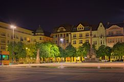 Statue of Saint. Florian Szech: Socha sv. Floriana and Ancient column with figure of Virgin Mary at Masaryk Square in night. Ostrava, Czech Republic-AUGUST 19 royalty free stock photography
