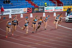 OSTRAVA, CZECH REPUBLIC, SEPTEMBER 8. 2020: Sprinters race, Professional track and field sprint race, athletes on the track.