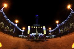 Ostrava in der dunklen Weihnachtsnacht Stockfoto