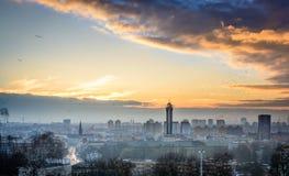 Ostrava i solnedgång Fotografering för Bildbyråer