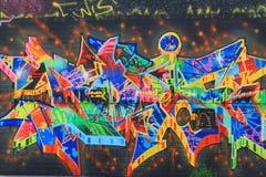 OSTRAVA, REPÚBLICA CHECA - 10 DE ABRIL: Milada Horakova Park desde os anos 90 encheu-se por grafittis abstratos da cor o 10 de ab Foto de Stock Royalty Free