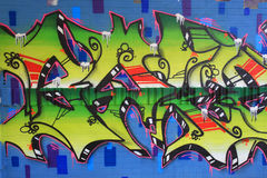 OSTRAVA, REPÚBLICA CHECA - 10 DE ABRIL: Milada Horakova Park desde os anos 90 encheu-se por grafittis abstratos da cor o 10 de ab Fotografia de Stock