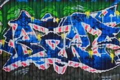 OSTRAVA, REPUBBLICA CECA - 10 APRILE: Milada Horakova Park dagli anni 90 ha riempito dai graffiti astratti di colore il 10 aprile Fotografia Stock