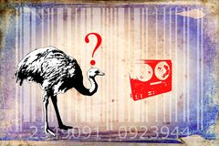 Ostrich barcode animal design art idea. I am a traditional artist. This is digital painting and 3d software compilation. This is my own idea Royalty Free Stock Images