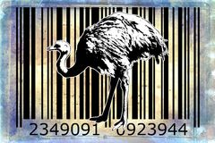Ostrich barcode animal design art idea. I am a traditional artist. This is digital painting and 3d software compilation. This is my own idea Royalty Free Stock Photography