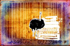 Ostrich barcode animal design art idea. I am a traditional artist. This is digital painting and 3d software compilation. This is my own idea Stock Image