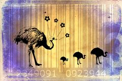 Ostrich barcode animal design art idea Royalty Free Stock Image