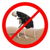Ostrich behavior forbidden red sign concept Stock Photos