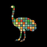 Ostrich bird color silhouette animal stock illustration