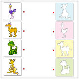 Ostrich, camel, snake and kangaroo. Educational game for kids Stock Photos