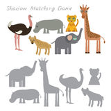 Ostrich elephant giraffe hippopotamus hyena leopard isolated on white background, Shadow Matching Game for Preschool Children. Fin. D the correct shadow. Vector Royalty Free Stock Images