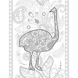 ostrich hand drawn doodle animal paisley adult stress release coloring page zentangle stock illustration