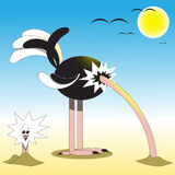 Ostrich head in the sand. Illustration of ostrich, which put its head in sand Stock Photography