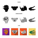 Ostrich, koala, rhinoceros, crocodile, realistic animals set collection icons in black, flat, monochrome style vector Royalty Free Stock Images