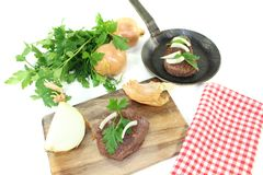 Ostrich steak with parsley Stock Photos