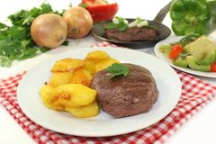 Ostrich steaks Stock Photo