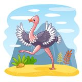 Ostrich is walking along a sandy glade. Vector illustration with an African bird. Cute animal in the cartoon style Stock Photos