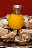 Ostriche fresche in un piatto d'argento con il limone immagini stock