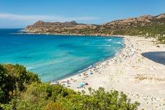 Ostriconi海滩在可西嘉岛的Balagne地区 库存照片