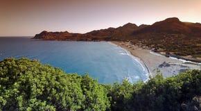 Ostriconi plaża w Agriates wybrzeżu Obrazy Royalty Free