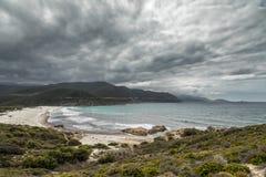 Ostriconi plaża i pustyni des Agriates w Corsica Zdjęcia Stock