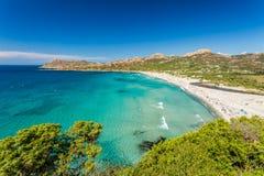 Ostriconi plaża w Balagne regionie Corsica Obrazy Royalty Free