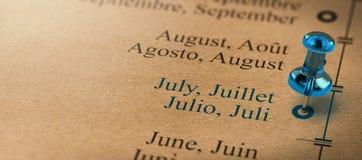 Ostrość na Lipu, miesiące roku kalendarz Zdjęcie Stock