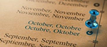 Ostrość na Październiku, miesiące roku kalendarz Fotografia Royalty Free