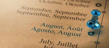 Ostrość na Sierpień, miesiące roku kalendarz Zdjęcia Stock