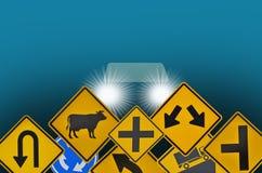Ostrożnie jadący z ostrzeżeniem i zabrania ruchu drogowego znaka dla bezpieczeństwa ilustracja wektor