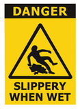 Ostrożność Śliska ampuła, Gdy Mokry teksta znak, Czarny kolor żółty Odizolowywał Podłogowego Nawierzchniowego terenu niebezpiecze Zdjęcia Royalty Free