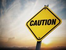 Ostrożność drogowy znak Obraz Stock